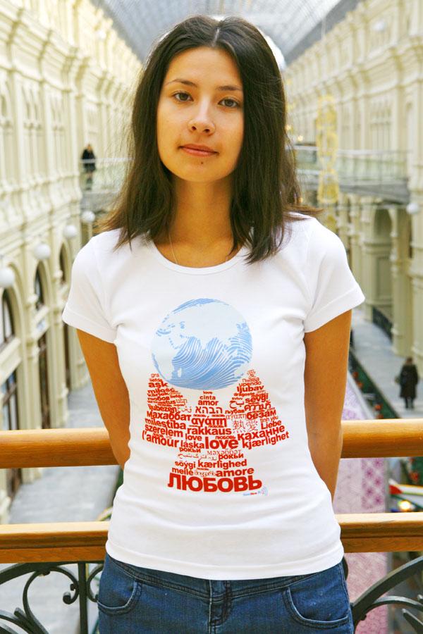 Женская футболка «Любовь держит Землю» белая
