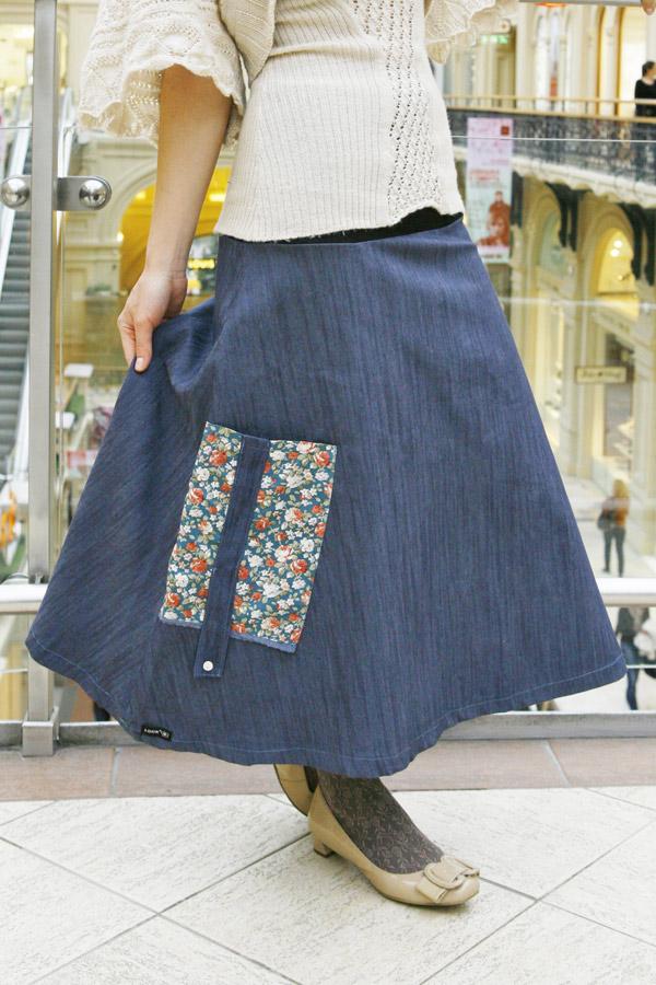 Джинсовая юбка LK107 синяя