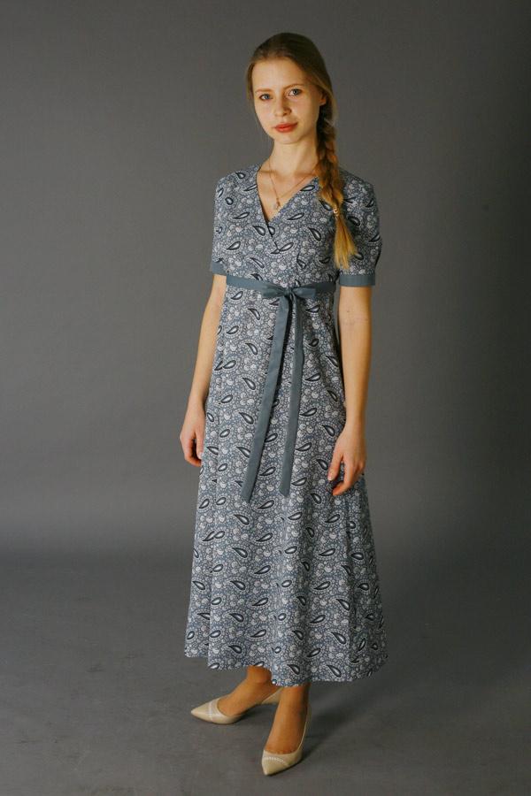 Домашнее длинное платье «Элегия» серое