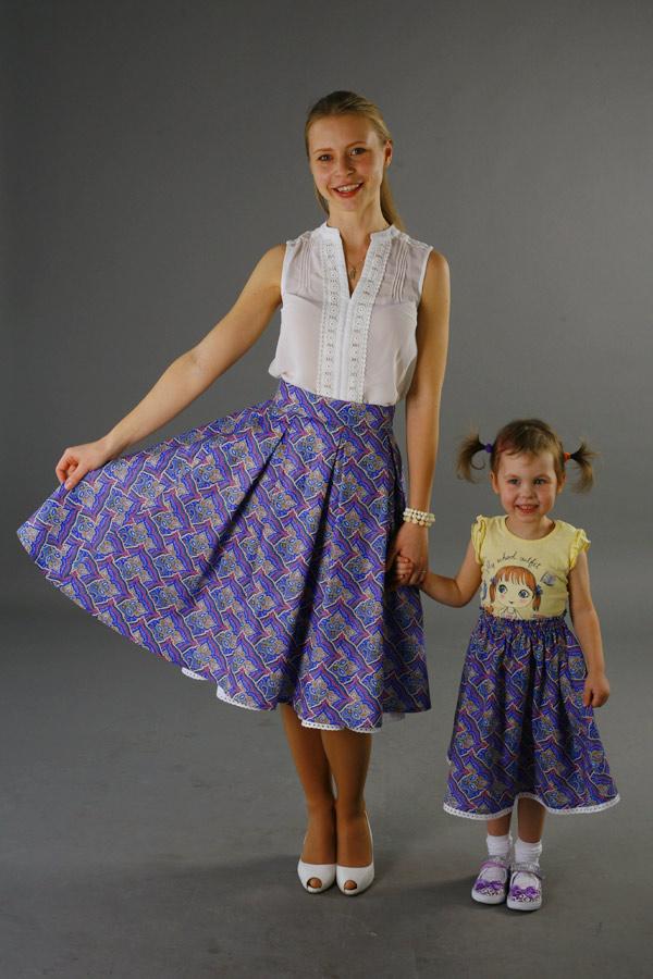 Взрослая юбка из комплекта family look «Мозаика»