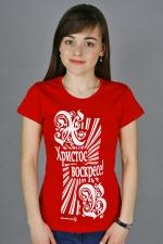 Красная футболка «Христос воскресе!»