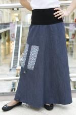Длинная джинсовая юбка LK108 синяя