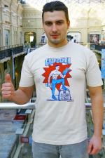 Мужская футболка бежевая «Спорт сила. Спирт могила»