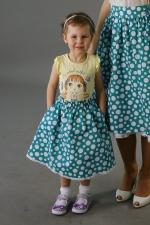 Детская юбка в горошек из комплекта family look «Лазурит»