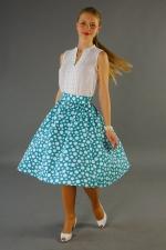 Взрослая юбка в горошек из комплекта family look «Лазурит»